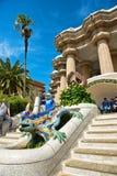 Mosaisk salamander på Parc Guell, Barcelona Royaltyfri Bild