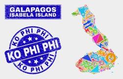 Mosaisk service Isabela Island av den Galapagos översikten och skrapade Ko Phi Watermark royaltyfri illustrationer