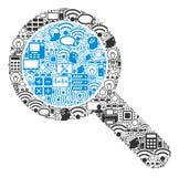 Mosaisk symbol för sökandehjälpmedel för BigData och beräkning royaltyfri illustrationer