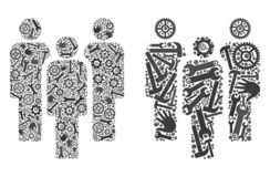 Mosaiska folksymboler av servicehjälpmedel royaltyfri illustrationer