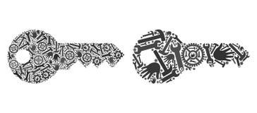 Mosaiska nyckel- symboler av reparationshjälpmedel royaltyfri illustrationer