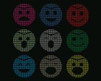 Mosaiska symboler av smileyframsidor. Arkivfoto