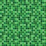 Mosaiska tegelplattor för badrum och brunnsort Seamless bakgrund upprepa textur Grön skinande tegelplattaillustration Royaltyfria Bilder
