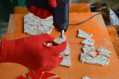 Mosaiska tegelplattor med slagträet royaltyfria foton