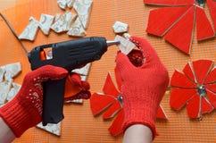 Mosaiska tegelplattor med slagträet fotografering för bildbyråer