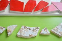 Mosaiska tegelplattor med slagträet arkivfoton