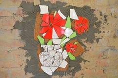 Mosaiska tegelplattor med slagträet arkivbilder