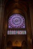 Mosaiskt fönster av domkyrkan av Notre Dame Arkivbilder