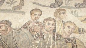 Mosaiskt fragment Roman Villa Romana del Casale, Sicilien, effekt för UNESCOvärldsarvKen brännskador stock video