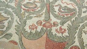 Mosaiskt fragment Roman Villa Romana del Casale, Sicilien, UNESCOvärldsarv stock video