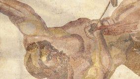 Mosaiskt fragment Roman Villa Romana del Casale, Sicilien, UNESCOvärldsarv arkivfilmer