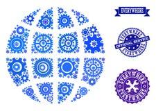 Mosaiskt jordklot med kuggar och gummistämplar för service stock illustrationer