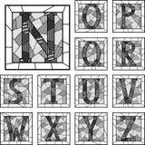 Mosaiskt mönstrade linjer för versalar alfabet. Fotografering för Bildbyråer