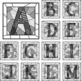 Mosaiskt mönstrade linjer för versalar alfabet. Royaltyfri Fotografi