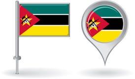 Mosambik-Stiftikone und Kartenzeigerflagge Vektor Stockfotografie