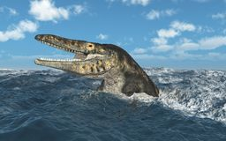 Mosasaur Tylosaurus en el mar tempestuoso stock de ilustración
