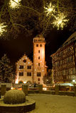 Mosbach weihnachtlich geschmueckt. The Christmassy Old Town of Mosbach in Germany royalty free stock photography