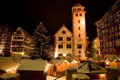 Mosbach weihnachtlichgeschmueckt Arkivbild