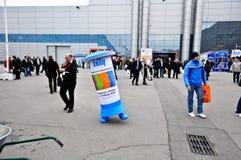 MosBuild 2012年陈列,莫斯科4月, 11 2012年,俄罗斯 免版税库存图片