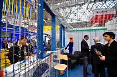 MosBuild 2012 Tentoonstelling, 11 april, 2012, Moskou, Rusland Royalty-vrije Stock Foto's