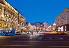 moscú Año Nuevo en la calle de Tverskaya Foto de archivo libre de regalías