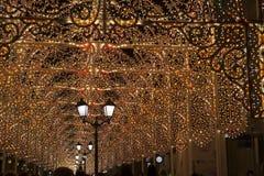 Moscú adornó el túnel por Año Nuevo y la Navidad Foto de archivo