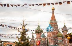 Moscú adornó por Plaza Roja de los días de fiesta del Año Nuevo y de la Navidad Fotos de archivo libres de regalías