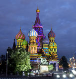 Moscú, catedral de las albahacas del santo Imágenes de archivo libres de regalías