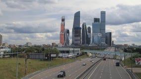 Moscú-Ciudad del centro de negocios Timelapse almacen de metraje de vídeo