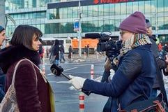 Moscú - 27 de febrero de 2016 Marcha de la memoria del político matado Boris Nemtsov Foto de archivo libre de regalías