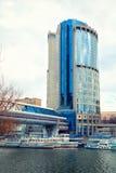Moscú - 9 de marzo: Moscú-ciudad del centro de negocios Imágenes de archivo libres de regalías