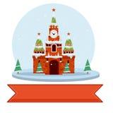Moscú el Kremlin en invierno Ejemplo plano de la historieta fotos de archivo libres de regalías