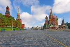 Moscú el Kremlin, Plaza Roja y santo Basil Cathedral Imagen de archivo libre de regalías