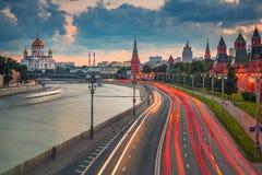Moscú en la oscuridad fotografía de archivo libre de regalías