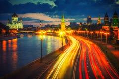 Moscú en la oscuridad fotos de archivo