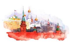 Moscú Kremlin Pinturas de la acuarela de la Plaza Roja de Rusia ilustración del vector