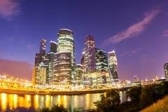 Moscú la ciudad de la noche Foto de archivo libre de regalías