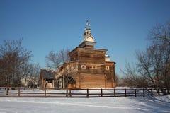 Moscú. La iglesia de madera en el señorío Kolomenskoe. Imagen de archivo libre de regalías