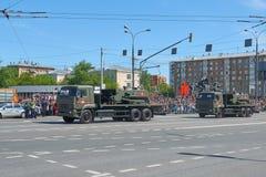 MOSCÚ, MAYO, 9, 2018: Desfile del día de fiesta de la gran victoria de los vehículos militares rusos Bombero Uran-6 del robot del fotos de archivo