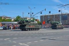 MOSCÚ, MAYO, 9, 2018: Desfile del día de fiesta de la gran victoria del tanque ruso BUK M2 del misil de la defensa aérea de los v Imagenes de archivo