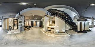Moscú - 2018: panorama esférico 3D con ángulo de visión de 360 grados del interior de moda hermoso de la MOD de la tienda del dis fotos de archivo
