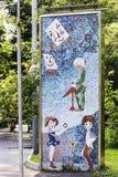 Moscú, parque de Sokolniki, el mosaico famoso de la historieta de Unión Soviética enojado en el tiempo de URSS Fotos de archivo