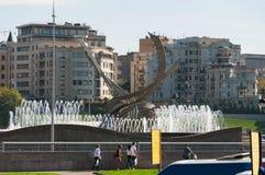 Moscú, Rusia - 09 21 2015 Abducción de la escultura de Europa cerca del ferrocarril de Kievsky Imagenes de archivo
