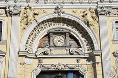 Moscú, Rusia, abril, 15, 2017 Fragmento del edificio principal del complejo de los baños en Neglinnaya, 14 de Sandunovsky Fotografía de archivo libre de regalías