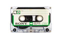 MOSCÚ, RUSIA - 28 DE ABRIL DE 2016: Cassete compacto audio de SONY aislado en el fondo blanco Echa a un lado A Imagenes de archivo