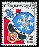 MOSCÚ, RUSIA - 2 DE ABRIL DE 2017: Un sello de los posts impreso en Czechosl Fotografía de archivo