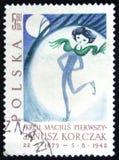 MOSCÚ, RUSIA - 2 DE ABRIL DE 2017: Un sello de los posts impreso en Polonia s Fotos de archivo libres de regalías