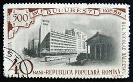 MOSCÚ, RUSIA - 2 DE ABRIL DE 2017: Un sello de los posts impreso en Rumania fotos de archivo libres de regalías