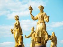 MOSCÚ, RUSIA - 11 DE AGOSTO DE 2018: la fuente de la amistad de la gente en VDNKH imagen de archivo