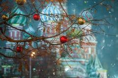 Moscú, Rusia - 5 de diciembre de 2017: GOMA de la casa comercial del árbol de navidad en Plaza Roja en Moscú, Rusia Fotos de archivo libres de regalías